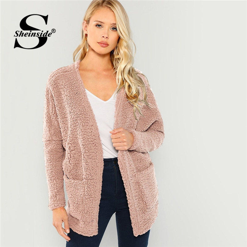 Sheinside Pink Patch Pocket Open Front Faux Fur Teddy Coat Fall Winter Tops For Women 2018 Outerwear Womens Coats And Jackets