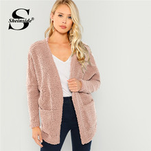 2600f6a5568cf Sheinside Pink Patch Pocket Open Front Faux Fur Teddy Coat Fall Winter Tops  For Women 2018 Outerwear Womens Coats And Jackets