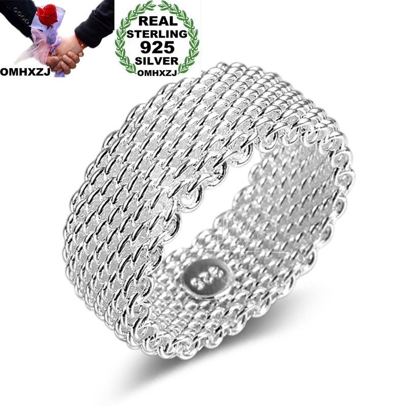 OMHXZJ Wholesale Personality Fashion OL Woman Girl Party Wedding Gift Silver Weaving Wide 925 Sterling Silver Ring RN273