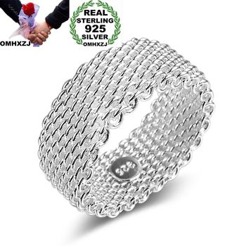 OMHXZJ Wholesale Personality Fashion OL Woman Girl Party Wedding Gift Silver Weaving Wide 925 Sterling Ring RN273