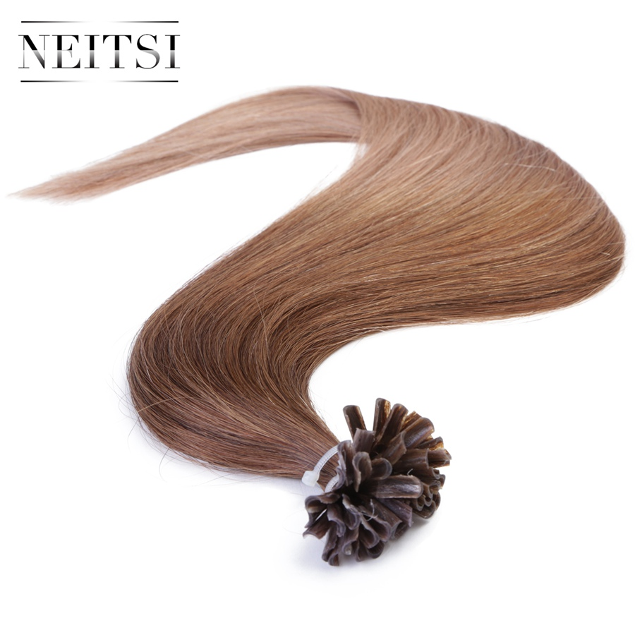 Neitsi Straight Ombre Human Fusion Keratin Capsules Hair Nail U Tip Machine Made Remy Hair Extensions