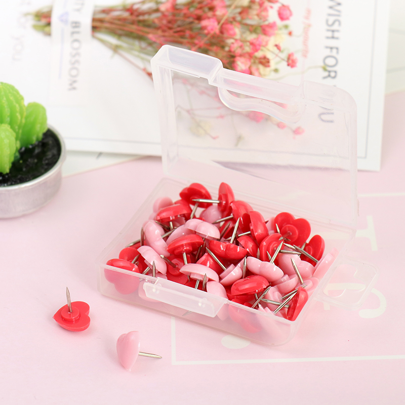 Wholesale 4500pcs Heart Shape Plastic Cork Board Safety Colored Push Pins Thumbtack Without Box
