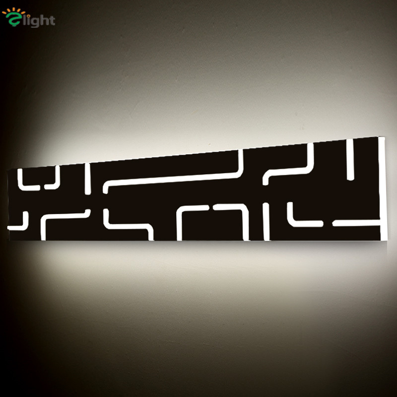 ФОТО Modern Simple Acrylic Led Wall Lamp Creative PMMA Bedroom Led Wall Light Nordic Carved Rectangle Bathroom Mirror Led Lighting