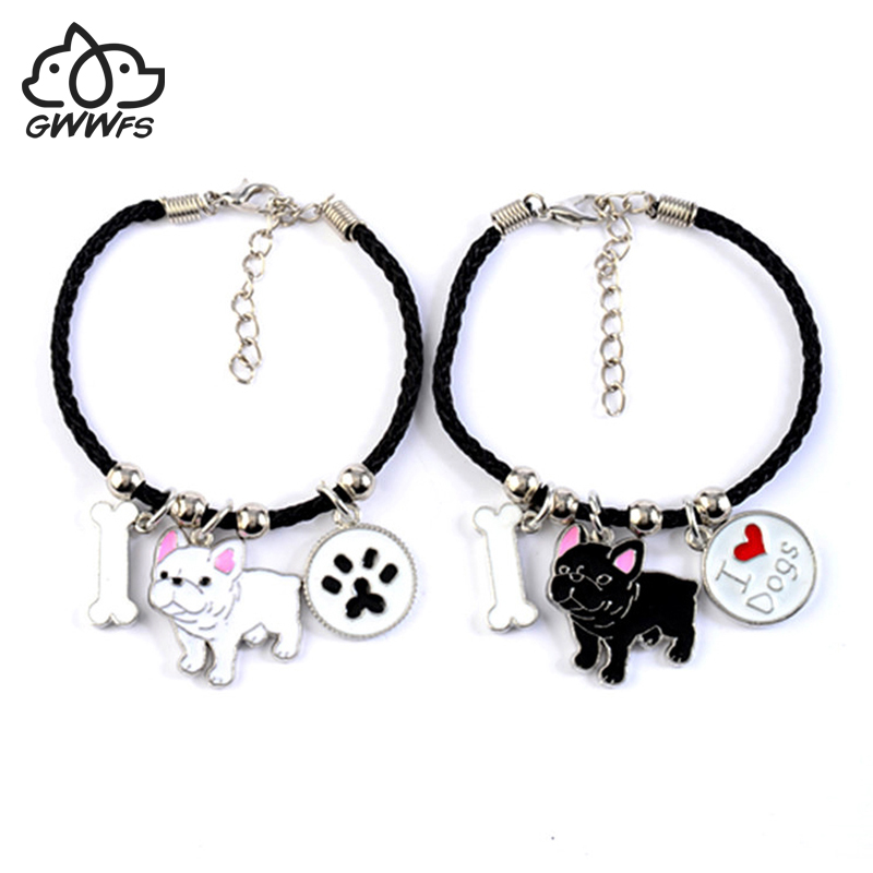 French Bulldog Charm Bracelets Bangles Women Girls Silver Color Dog Pendant Rope Chain Female Wrap Bracelet Jewelry Bijoux Femme