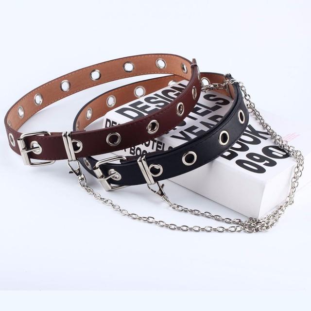 Women Fashion Belt Adjustable Black Double/Single Eyelet Grommet Leather Buckle Belt