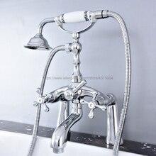 Chrome Bathtub Faucet Shower Faucet Dual Cross Handle Hand shower Mixer Tap Deck Mounted Bath Shower Set Mixer Faucet Ntf756
