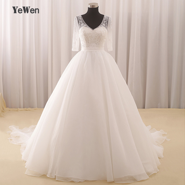 1.2M train Aline Wedding dress 2018 Yewen off shoulder Crystal ...