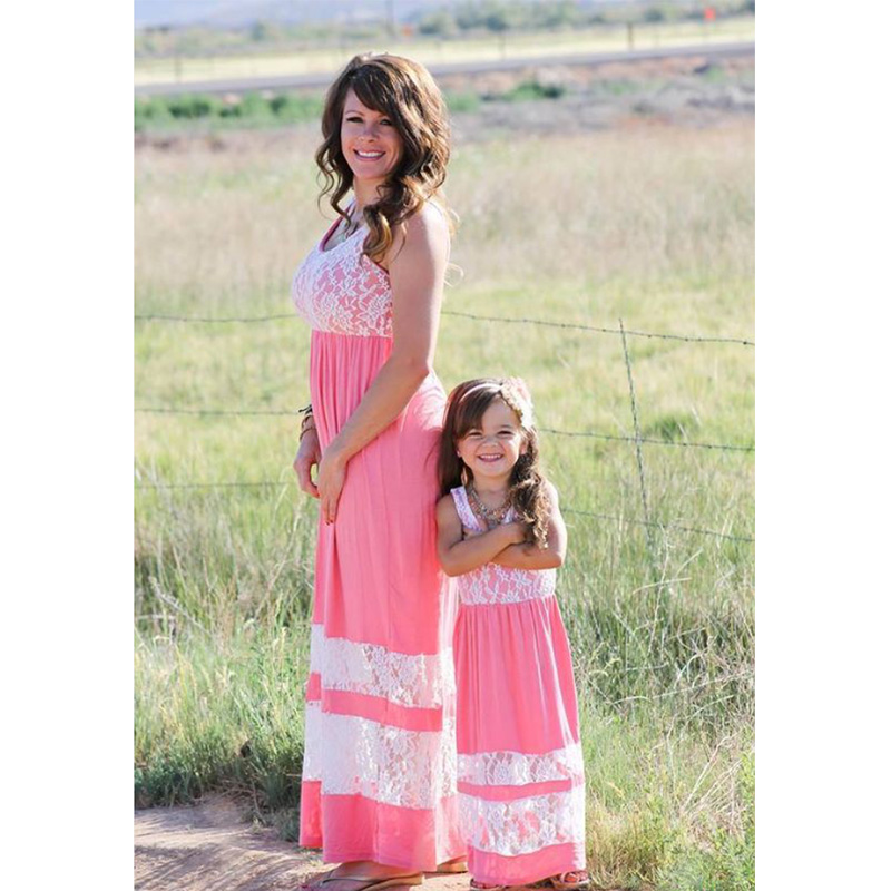 New family look mommy and me dresses lace long dress for mother daughter women girls' summer baby mom family matcing clothes hot