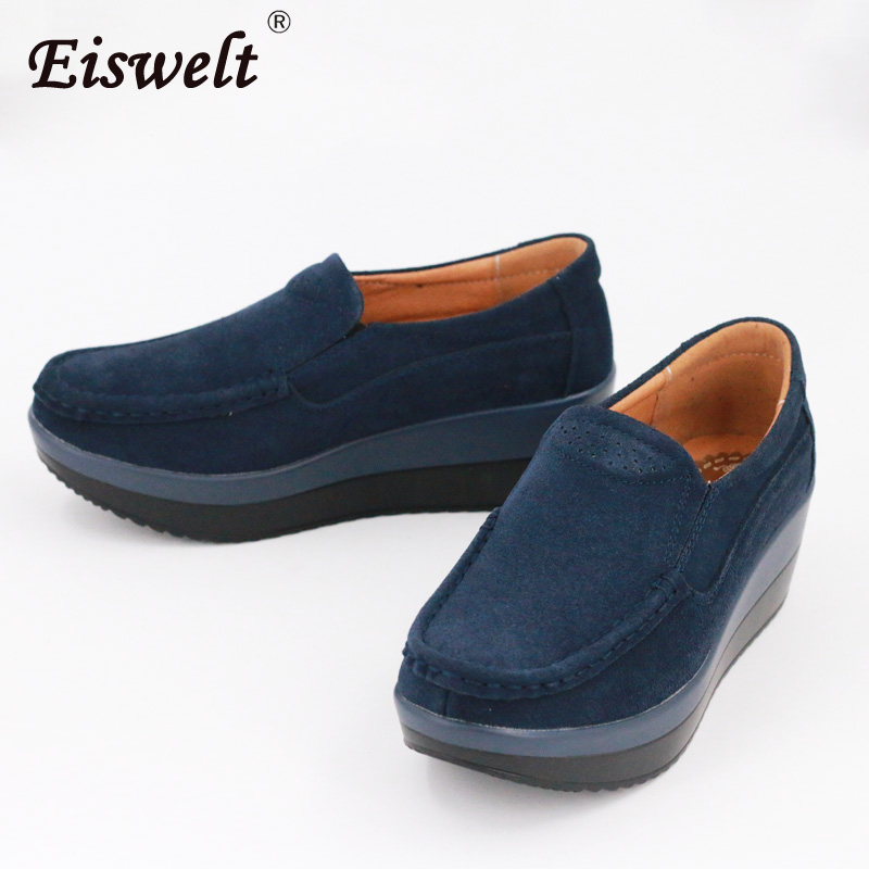 EISWELT Hot Sale Genuine Leather Women Casual Platform Shoes Women Spring Shallow Fashion Style#XH015 anmairon shallow leisure striped sandals women flats shoes new big size34 43 pu free shipping fashion hot sale platform sandals