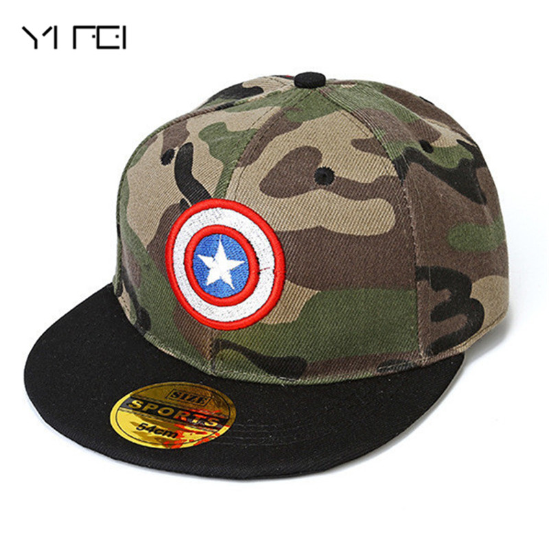 2019 კაპიტანი ამერიკა Camouflage Hip Hop CAPS ბავშვები Superman BatMan Cap Diamond Snapback For Kid Sun Hat Star Cap