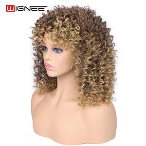 Image 5 - Wignee кудрявые афро вьющиеся парики с челкой смешанный коричневый блондинка синтетические парики для чернокожих женщин афроамериканские волокна натуральные волосы парики