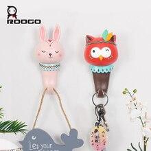Roogo Home Decoration Accessories Hanger Cartoon Animal Key Holder Wall Crochet Indoor Room Hooks Coat Rack