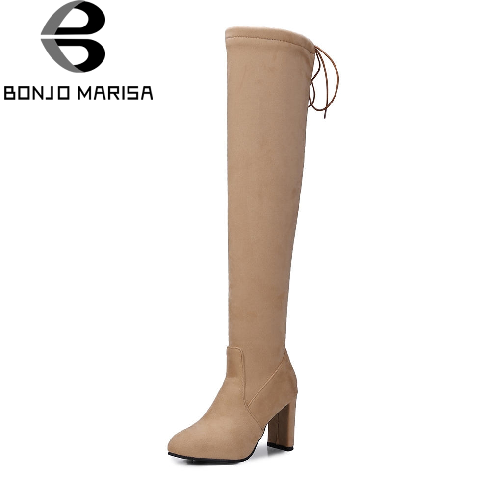 BONJOMARISA Sexy Plus Size 32-48 Over Knew Thigh High Boots Woman Autumn slip-on Soft Shoes Woman 8 Cm High Heels Women Shoes цена