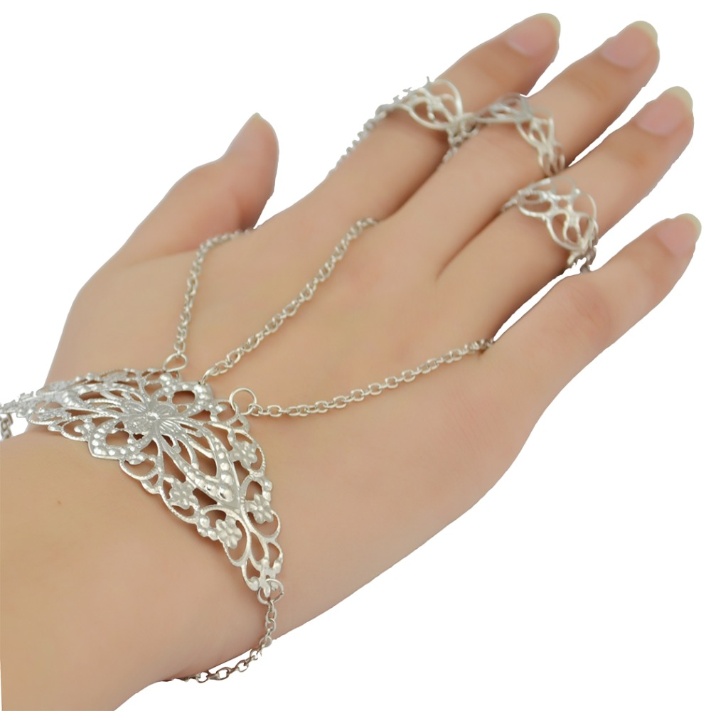 Tibetan Belly Dance Retro Silver Adjustable Hollow Out Flower <font><b>Bracelets</b></font> & Bangles with <font><b>Ring</b></font> for Women Gift Arm <font><b>Indian</b></font> Jewelry image