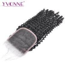 YVONNE Cierre de cabello humano virgen brasileño, rizado, cierre de encaje, 4x4, Parte libre, Color Natural