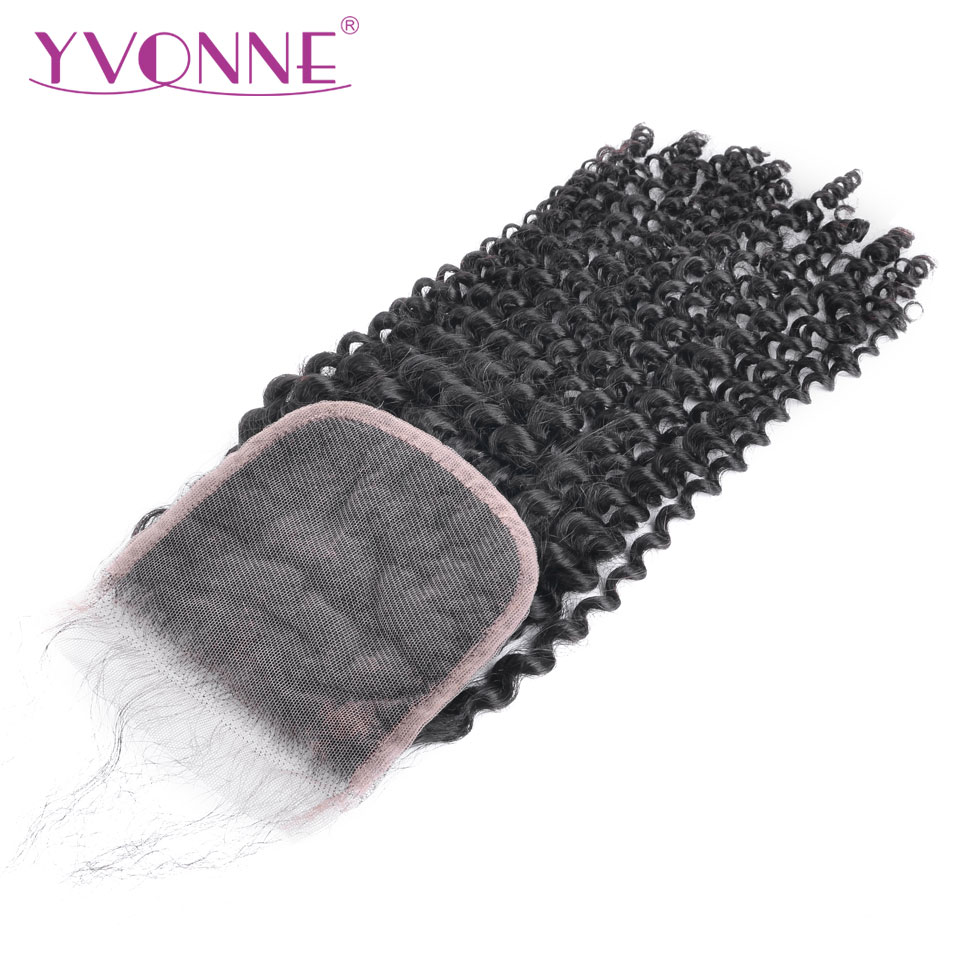YVONNE Kinky Curly Closure Brazilian Virgin Human Hair Lace Closure 4x4 Free Part Natural Color