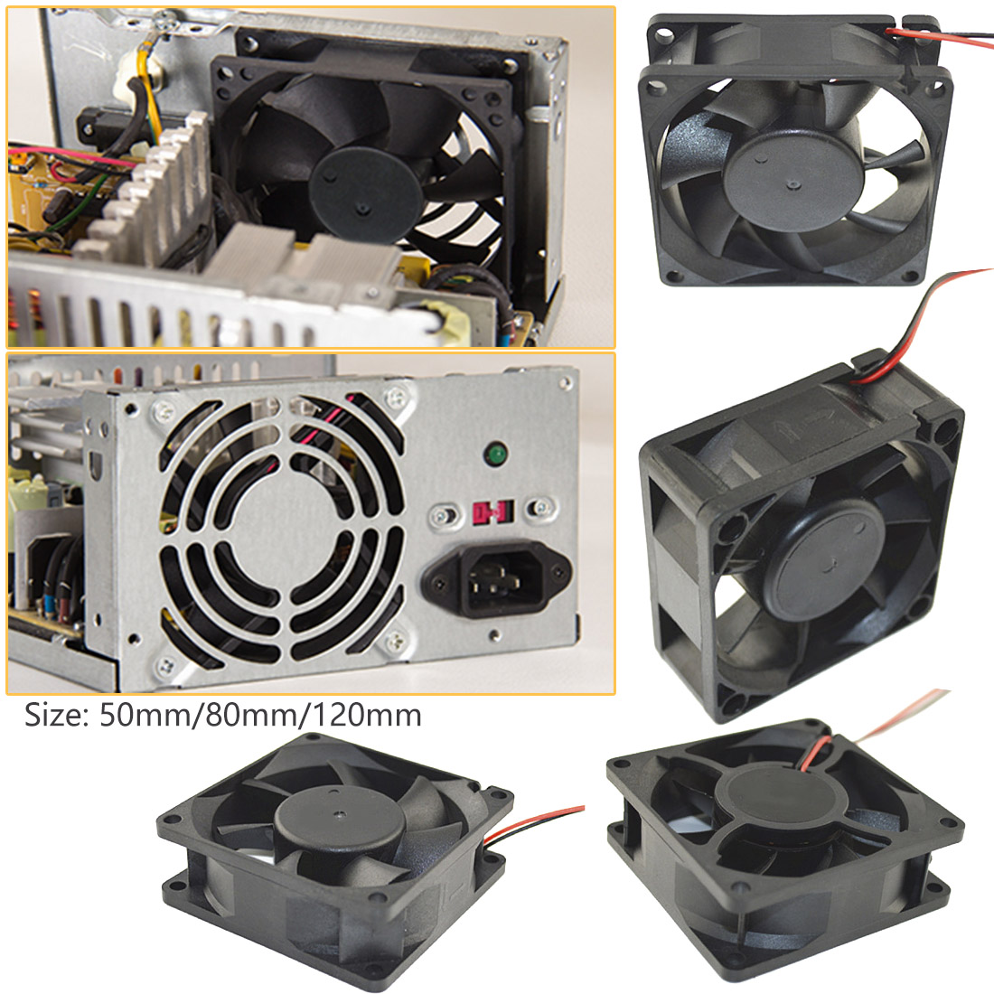 <font><b>12V</b></font> Cooler <font><b>Fan</b></font> for PC 2-Pin 50mm 80mm <font><b>120</b></font> <font><b>mm</b></font> Computer CPU System Heatsink Brushless Cooling <font><b>Fan</b></font> image