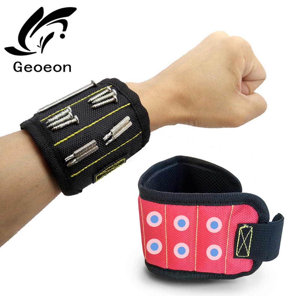 Geoeon Three-row Magnetic Wristband Wrist Support Strong Magnetic For Screw Nail Holder Wristband Band Tool Bracelet Belt A30