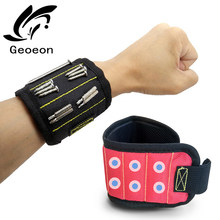 Geoeon Three-row Magnetic Wristband Wrist Support Strong Magnetic For Screw Nail Holder Wristband Band Tool Bracelet Belt A30(China)