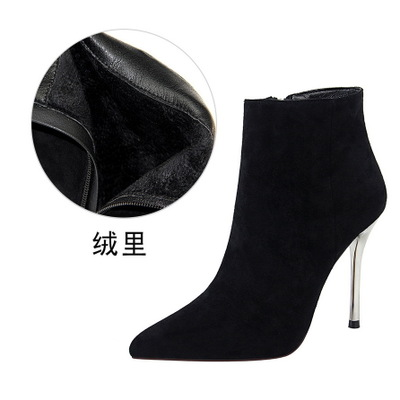 2018  new Autumn and winter fashion simple stiletto super high heel suede pointed sexy nightclub was thin female booties2018  new Autumn and winter fashion simple stiletto super high heel suede pointed sexy nightclub was thin female booties