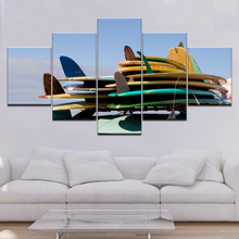 Drop Shipping 5 Piece Canvas Art Surfboard poster Painting Framed Wall Pictures for Living Room Modular picture