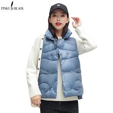 PinkyIsBlack Autumn Winter Spring Vest Women Waistcoat 2019 Female Sleeveless Jacket Stand Collar Short Colete Feminino