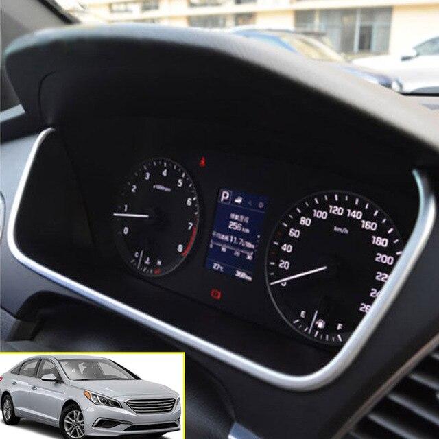 Ax Chrome Dashboard Instrument Panel Gauge Cover Strip Trim Bezel Surrounding Garnish Molding For Hyundai Sonata Lf 2017