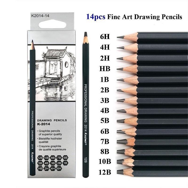 14pcs School Art Writing Supply Sketch And Drawing Pencil Lapis Set HB 2B 6H 4H 2H 3B 4B 5B 6B 10B 12B 1B Student Art Supplies