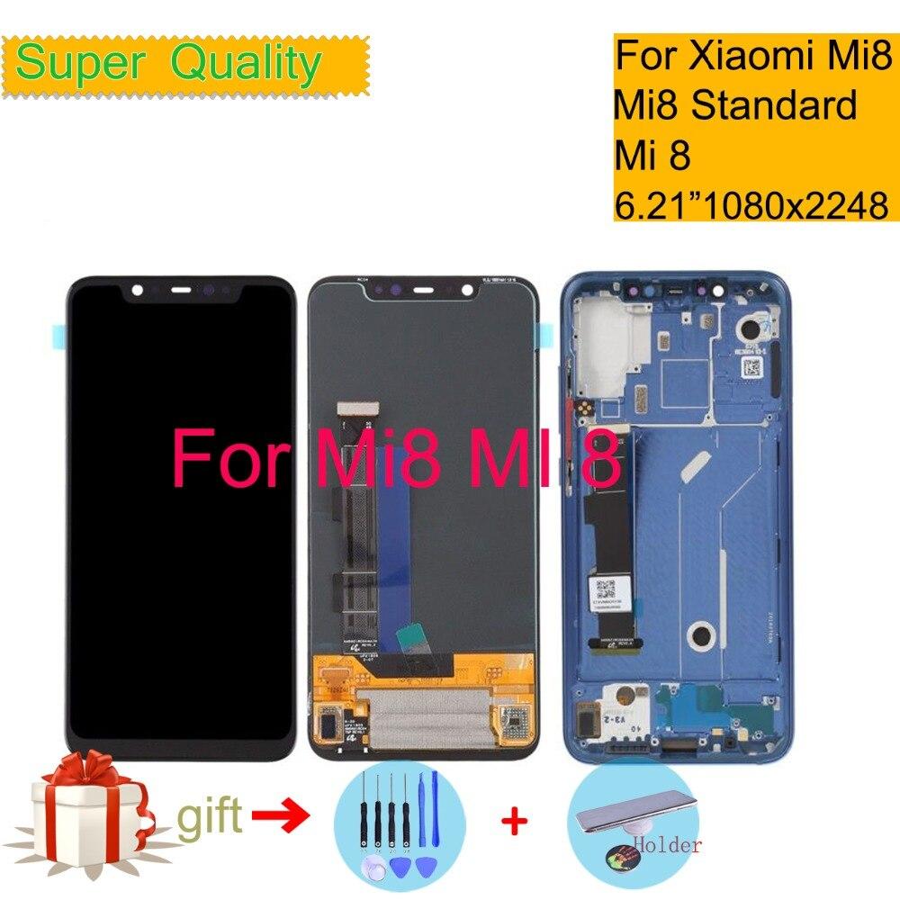 Super Amoled Pour Xiao mi mi 8 mi 8 LCD Affichage Écran Tactile Digitizer Panneau Pantalla moniteur mi 8 LCD assemblée Avec Cadre D'origine