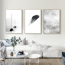 Black and White Feather Landscape Abstract Canvas Painting Nordic Poster Print Wall Art Pictures Living Room Home Office Decor