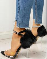 Transparent Studded Strap Fluffy Detail Heeled Sandals summer woman shoes in Solid Color Black with feather cover heel Stilettos