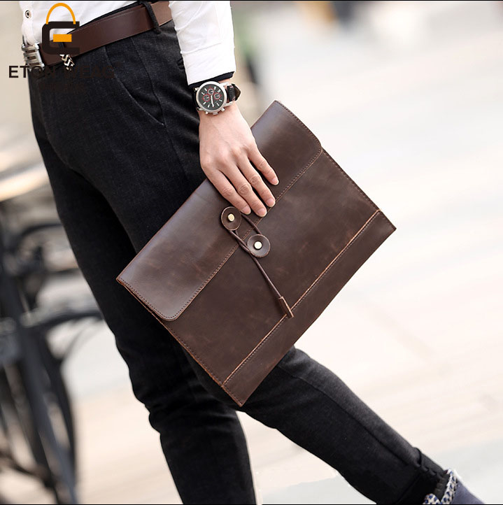 ETONWEAG Brands Cow Leather Women Clutch Bag Brown Vintage Envelope Shaped Day Clutches Business Document Bags Ladies Hand Bags yuanyu 2018 new hot free shipping real python leather women clutch women hand caught bag women bag long snake women day clutches