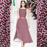 Heart Print Black/red/white Stretch Silk Satin Fabric Width 108cm/42inch