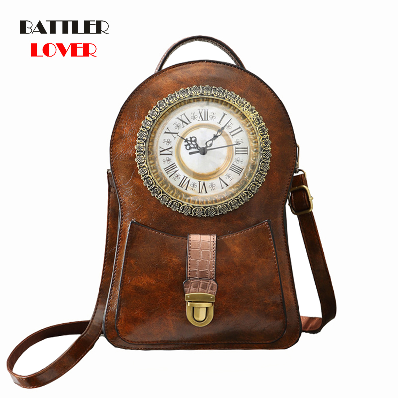 Vintage Clock Bag 2019 Womens Mochilas Mujer Backpack Women Bagpack Backpack Mochila Masculina Femme Hombre School Backpacks
