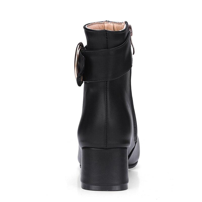 Botas Métal Noir blanc 44 Chaussures Taille Kemekiss marron Talons Automne Chaud Bottes mollet Hauts Footwears Demi Mi À 33 Femmes Courtes En Glissière qBpxBRzUw