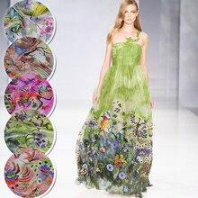 10Meters/Lot Free Ship By Fedex Bird Flower Printed Silk Chiffon Fabric Nature Material Sew Women Dress Scarf 6MM