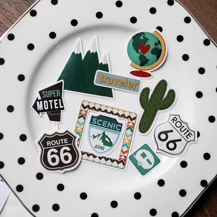 KSCRAFT 65 قطعة ملصقات السفر ورقة لسكرابوكينغ سعيد مخطط/بطاقة صنع/مشروع المجلات