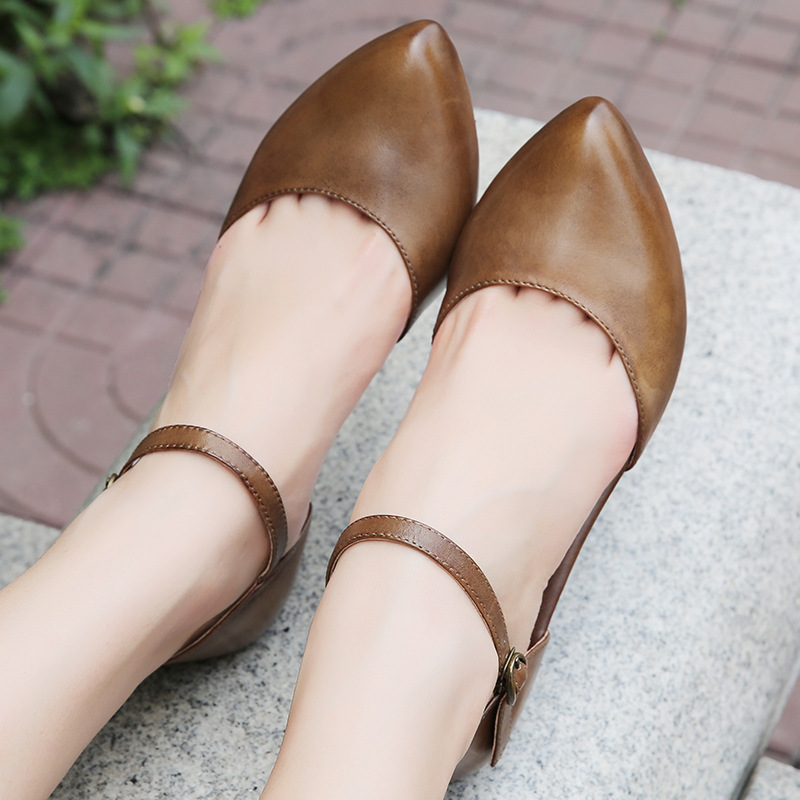 2018 Mary Janes Ladies Shoes Pointed Toe Summer Buckle Strap Women Sandals Casual Genuine Leather Low Heel Pumps G73-98 цена 2017