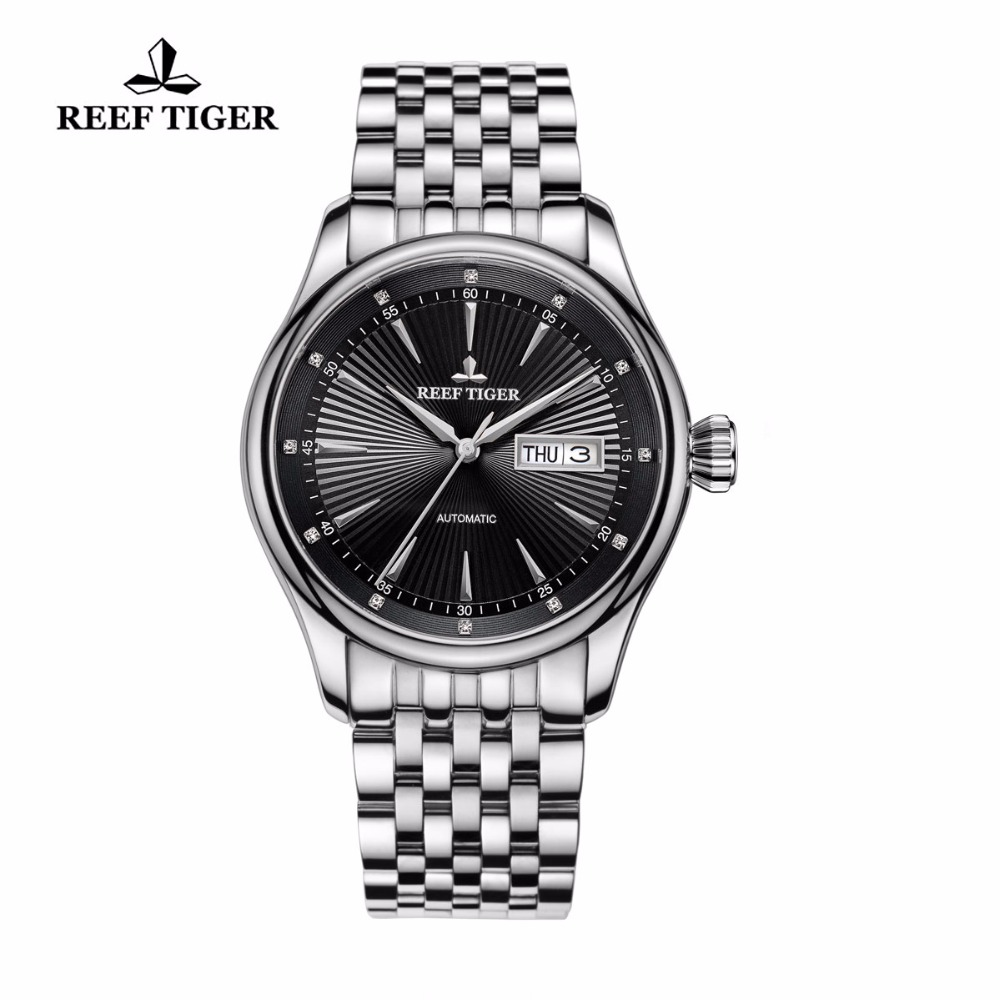 Reef Tiger/RT Dress Watch Men Date Day Black Dial Analog Automatic Watches Full Stainless Steel Watch RGA8232 вьетнамки reef day prints palm real teal