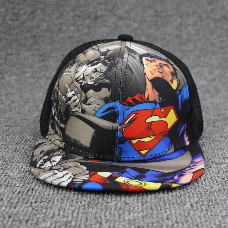 49e6277b6b8 Fashion Superman Batman Children Summer Snapback Adjustable Kid Boys Girls Baseball  Cap Hip Hop Hat Outdoor Mesh Cap 2 7 Years-in Baseball Caps from Apparel ...