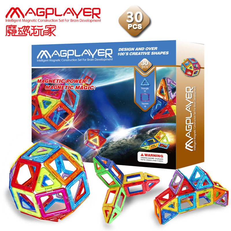 MAGPLAYER Magnetic Children Building blocks Toy Intelligence DIY Assembly colorful multiple shapes Gift Box Packing 3D Structure colorful pineapple ru bun lock children puzzle toy building blocks