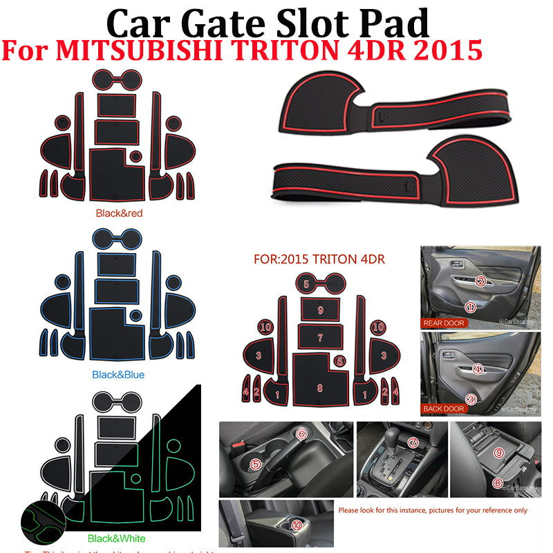 Hot Selling 15pcs/set Car Silicone Water Cup Gate Slot Mats Storage Anti-Slip Pad Car Styling For MITSUBISHI TRITON 4DR 2015