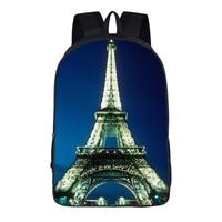 Women bags Eiffel Tower prints Backpack Students School Bag For Girls Boys Rucksack mochila customize Halloween gift