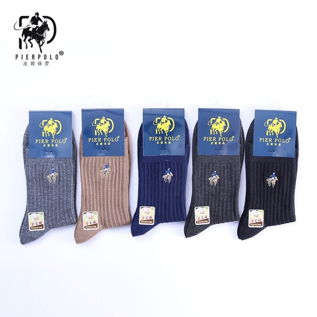 PIER POLO new dress fashion men pure color wool socks keep warm grew sock men's best gift socks 5 pairs package promotion price