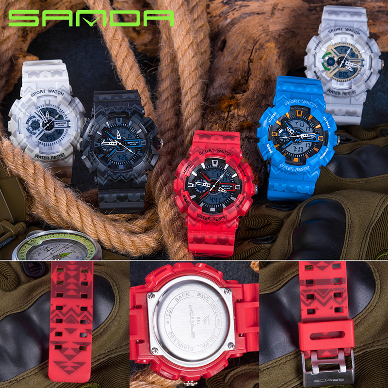 Red Color Sport Watch Men Army Military Outdoor Luminous Pioneer Display Digital Watch Waterproof Speed Pioneer Watch Relogios in Digital Watches from Watches