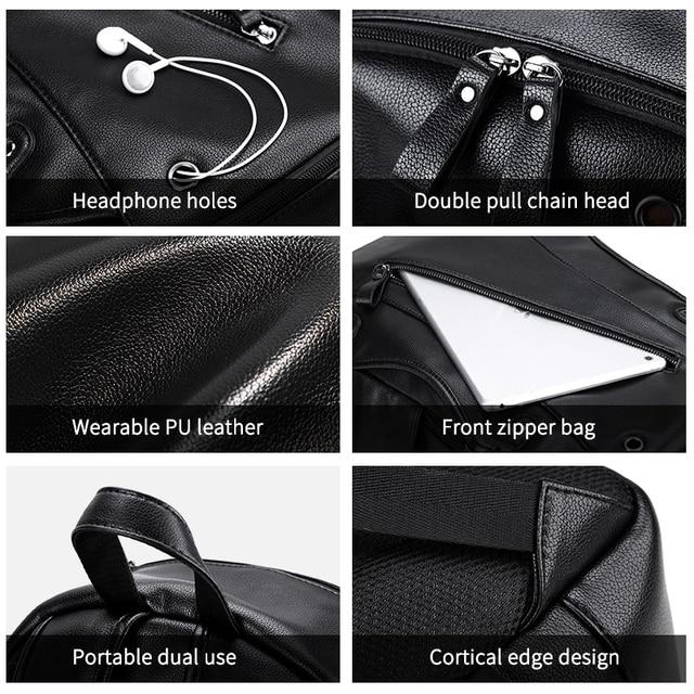 LIELANG Men Backpack External USB Charge Waterproof Backpack Fashion PU Leather Travel Bag Casual School Bag For Teenagers 2