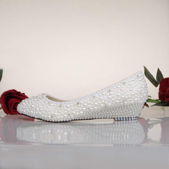 US $92.33 |Süße Frühling Weiße Elfenbein Perle Hochzeit Schuhe Mode Niedrigen Keilabsatz Brautschuhe Abschlussball Tanzen Kleid Schuhe Brautjungfer