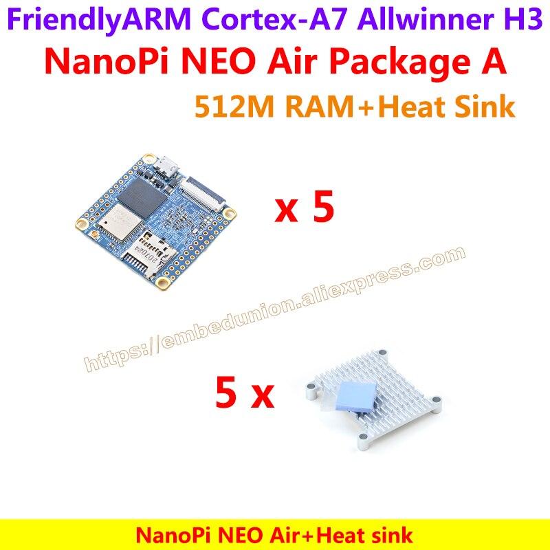 Prix pour 5 * Quad-core Cortex-A7 FriendlyARM NanoPi NEO Air (512 MB RAM) + 5 * Dissipateur de Chaleur = NanoPi NEO Air Paquet Un (WIFI et Bluetooth, 8 GB mem)