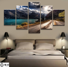 Home Decor Modular Canvas Picture 5 Piece Sunshine in the Mountains Scenery Art Poster Wall For Painting Wholesale