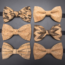 New Cork Wood Fashion Bow Ties Mens Novelty Handmade Solid Neckwear for Wedding Party Man Gift  Accessories Men Bowtie
